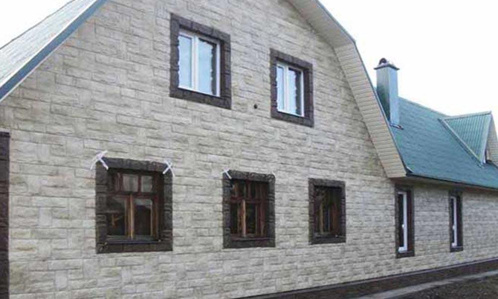Облицовка дома под фасадную панель Гранит
